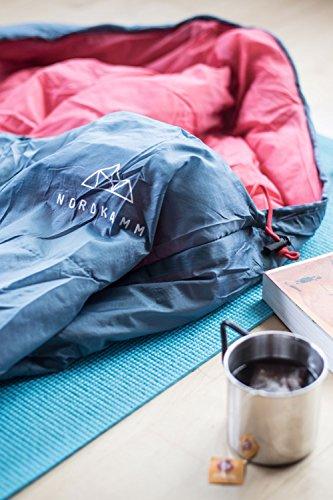 NORDKAMM - Saco de Dormir Ligero y Compacto, Derecha, para Adultos, Estilo Momia, acoplable para 2 Personas (Saco de Dormir Doble), para Acampada, Verano, ...