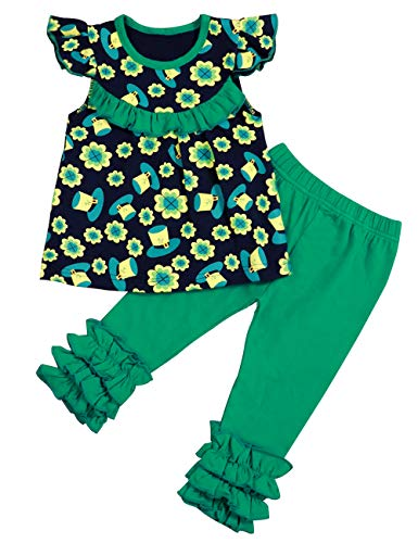 St Patricks Day Outfits Toddler Baby Girls Clothes Shamrock Shirts for Girl and Little Girls Ruffle Pants 2 PCS - Atp Pant