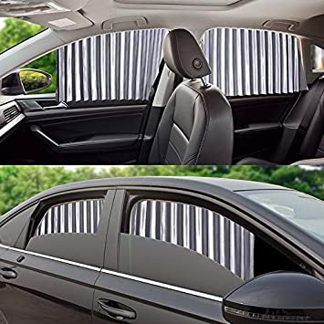 Syfinee 1 Pair Car Magnetic Sunshade Full UV Protection Curtain Sun Block Privacy Protector Shades