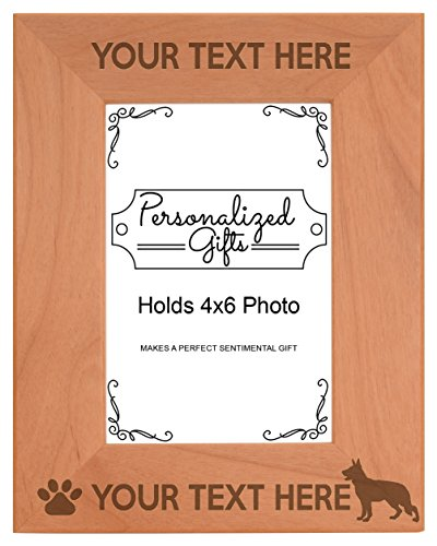 (Personalized Gifts Custom Dog Picture Frame German Shepherd Your Text Best German Shepherd Ever Customized Dog Name Natural Wood Engraved 4x6 Portrait Picture Frame Wood)