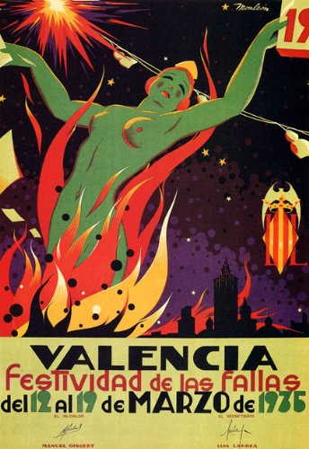 WONDERFULITEMS LAS FALLAS FESTIVAL VALENCIA 1935 SPAIN FIREWORKS NUDE WOMAN TRAVEL TOURISM 16'' X 24'' IMAGE SIZE VINTAGE POSTER REPRO by WONDERFULITEMS