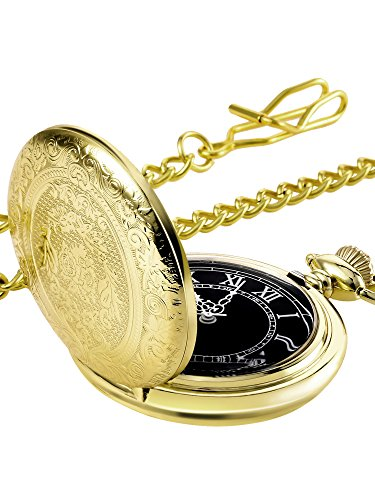 Black Quartz Pocket Watch - Hicarer Quartz Pocket Watch for Men with Black Dial and Chain (Gold)