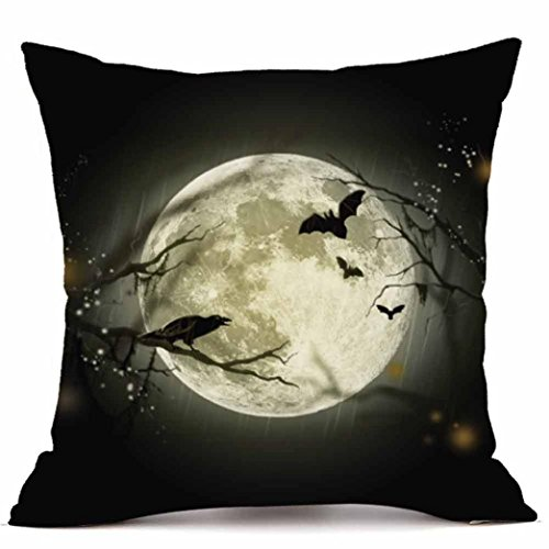 18 Inch Cashmere - Elogoog Halloween Pumpkin Throw Cushion Cases Super Cashmere Sofa Pillowcase Cover Home Decor 18 x 18 Inches_1pc (18 x 18 Inches, Moon)