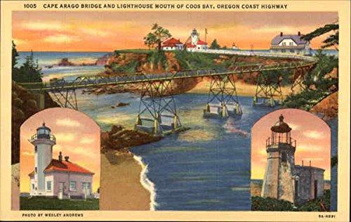 (Cape Arago Bridge and Lighthouse Mouth of Coos Bay, Oregon Coast Highway Original Vintage Postcard)