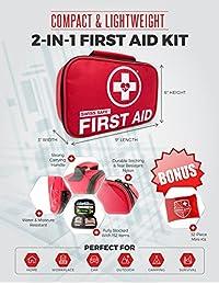 2 pulgadas 1 kit de primeros auxilios (120 piezas) + Bonus 32 Piece Mini Kit de primeros auxilios: Compact para en casa, al aire última intervensión, coche, Camping, Senderismo, lugar de trabajo & Supervivencia de Emergencia