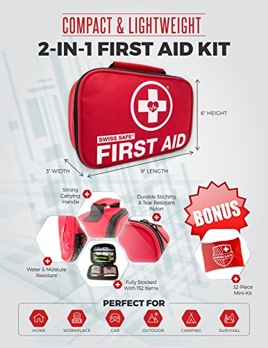 Swiss Safe 2-in-1 First Aid Kit (120 Piece) + Bonus 32-Piece Mini First Aid Kit: Compact, Lightweight for Emergencies at Home, Outdoors, Car, Camping, Workplace, Hiking & Survival
