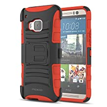 HTC One M9 Case, MoKo Shock Absorbing Hard Cover Ultra Protective Heavy Duty Case with Holster Belt Clip + Built-in Kickstand for HTC One M9 5.0 Inch (2015) - Red