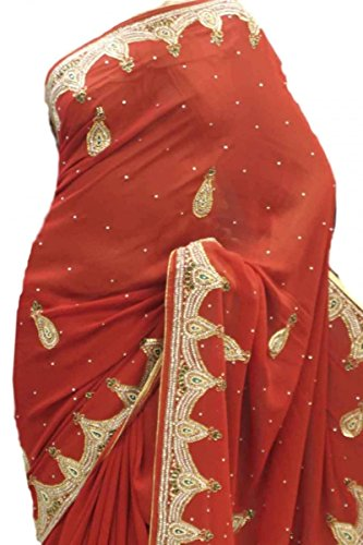 DES1407 exquisito sari rojo y del oro del partido Bollywood Indian Designer Party Saree Rojo