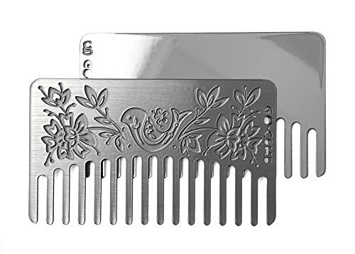 Go-Comb - Wallet Comb + Mirror - Sleek, Durable Stainless Steel Hair Comb with Travel Mirror - Otomi Mirror