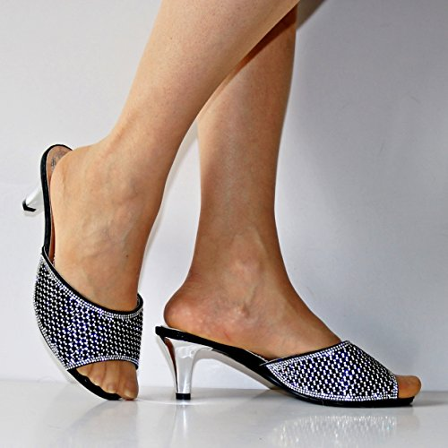 on 241 Heel Black Wide Shoes Diamante Ladies Party Styles Kitten Sizes A Sandals Plus Low Rock Feet qHwdZq