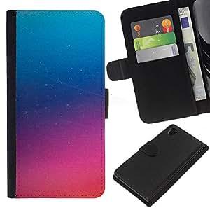 KLONGSHOP // Tirón de la caja Cartera de cuero con ranuras para tarjetas - Pink Glass Niebla púrpura misterioso - Sony Xperia Z2 D6502 //
