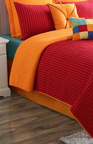 (Fiesta 11881403QMS Dash Reversible Quilt Set with 2 Euro Shams, Full/Queen, Scarlet Red/Tangerine Orange)