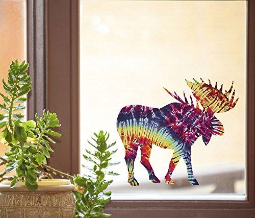 Rainbow Tie Dye Moose - See-Through Vinyl Window Decal - Copyright Yadda-Yadda Design Co. (5.5