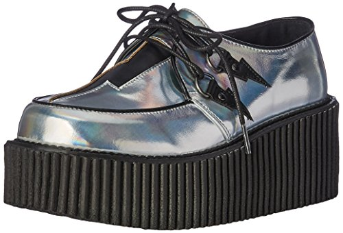 Demonia Women Cre218/Shg-Bvl Fashion Sneaker, SLV Hologram-Black Vegan Leather Slv Hologram-black Vegan Leather