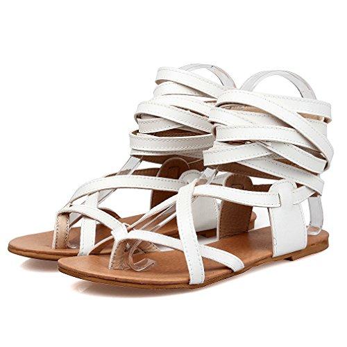 YE Damen Flache Ankle Strap Zehentrenner Römersandalen ohne Absatz Modern Schuhe Weiß