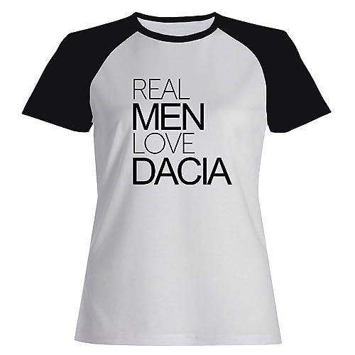 Idakoos Real men love Dacia - Nomi Femminili - Maglietta Raglan Donna