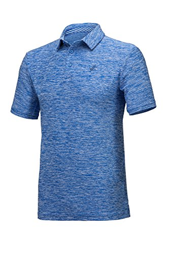 Jolt Gear, Men's Dry Fit Golf Polo Shirt, Athletic Short-Sleeve Polo Golf Shirts, Cool Blue (Laundry Bag Included) - Large
