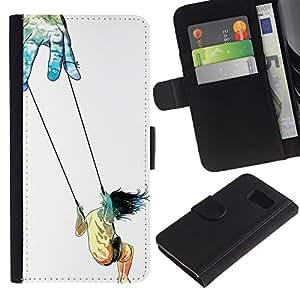 Paccase / Billetera de Cuero Caso del tirón Titular de la tarjeta Carcasa Funda para - Symbolic Art Trust Life Swing Girl God Hands - Samsung Galaxy S6 SM-G920