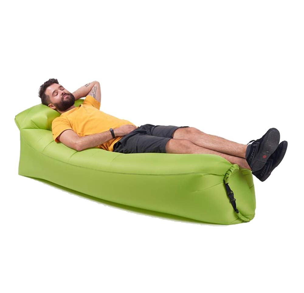 Adult Children Inflatable Sofa Lazy Sofa Portable Outdoor Travel Beach Air Bed Large Trumpet (Color : Green, Size : L)