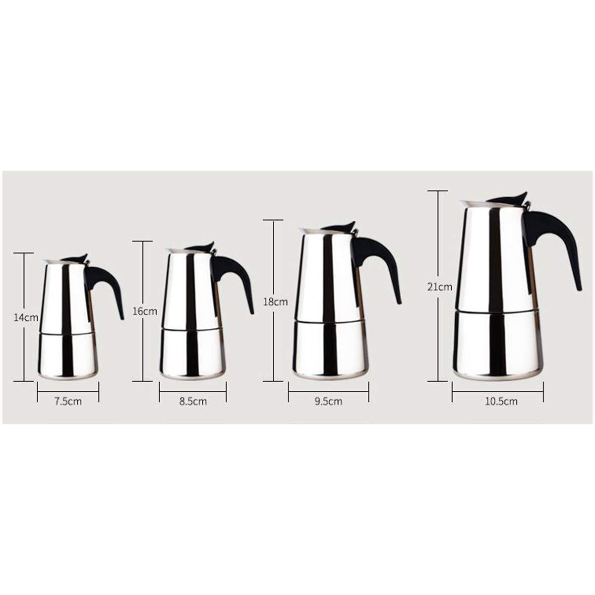 xiuyun Máquina de café Espresso de Acero Inoxidable con Filtro y Mango Resistente al Calor para el Desayuno y el Tiempo Libre (Color : La Plata, ...
