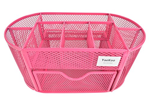 YaeKoo Desk Organizer | Caddy, Features Elegant Red Mesh Wire Design, 9 Space Saving Writing Supplies Compartments With a Large Drawer - Perfect For Gifts, Kids, Students, and Office Stationary (Red)
