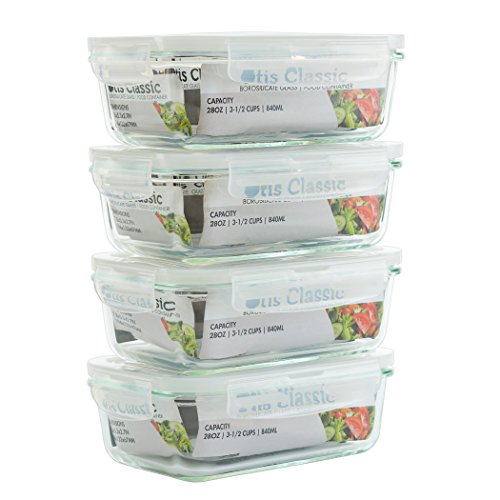 [4-Pack 28oz] Glass Food Storage Containers with Locking Lids - Glass Meal Prep Containers with Lids - Lunch Bento Boxes - 1 Compartment - 4pk Box Set - Transparent Lids - BPA Free and Dishwasher Safe (Microwaveable Containers Bpa Free)