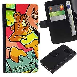 All Phone Most Case / Oferta Especial Cáscara Funda de cuero Monedero Cubierta de proteccion Caso / Wallet Case for Samsung Galaxy S6 // DJ Graffiti
