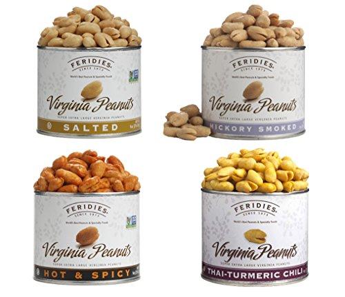 FERIDIES Assorted Seasoned Super Extra large Virginia Peanut Gift Pack - 4 PACK ()