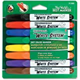 Ticonderoga White System Dry Erase Markers, Bullet Tip, Pack of 8 Assorted Colors (91080)
