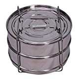 #1: ekovana Stackable Stainless Steel Pressure Cooker Steamer Insert Pans with lid