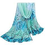 Clearance Women Scarf FEDULK Floral Print Chiffon Soft Shawl Lightweight Winter Warm Cape (Blue,One Size)