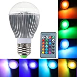 KINGSO 1 Pack E27 9W LED RGB Magic Lamp Light Bulb 16 Color Changing Spotlight With IR Remote Control Dimmable Screw Base For Home Decoration Bar Party KTV Xmas Wedding Show Club Pub Disco DJ Mood Ambiance Round Top Multicolor AC 85-256V