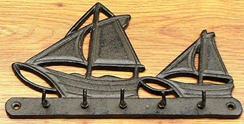- Sailboat Key Hook Cast Iron - Vintage Wall Mount Nautical Hanger