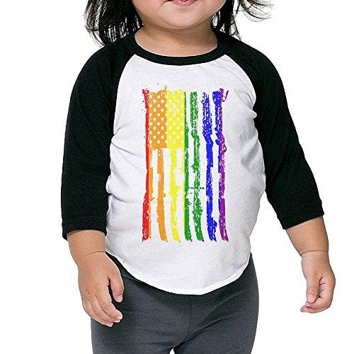 Raglan Gay Rainbow Flag - Asfbau Bnjazzp Unisex Kids 3/4 Sleeves Raglan Gay Pride Rainbow Flag USA Flag T Shirts Child Youth Slim Fit Sports Uniforms 2 Toddler