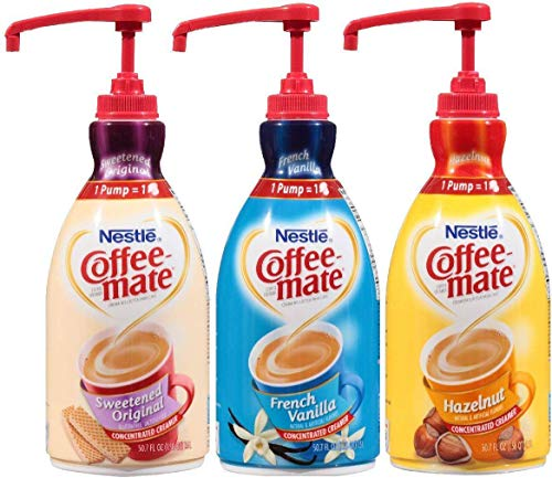 Coffee Mate Liquid Concentrate 1.5 Liter Pump Bottle - Variety 3 Pack (Original Sweetened Cream, French Vanilla & Hazelnut) ()