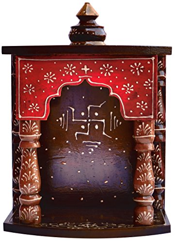 Handicraft Store Hindu Religious colourfull Wood Temple with swastick Symbol for Pooja and Hindu Religious Purpose, for Pooja Room at Home and Office, Religious Perfect for Home. Temple for Home (Best Hindu Temples In Usa)