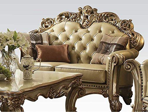 ACME Vendome Gold Patina Loveseat with 3 Pillows