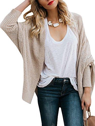 Shawl Collar Sweater Coat - Farktop Womens Batwing Chunky Cardigan Sweaters Oversized Boyfriend Knit Tops Plain Coats