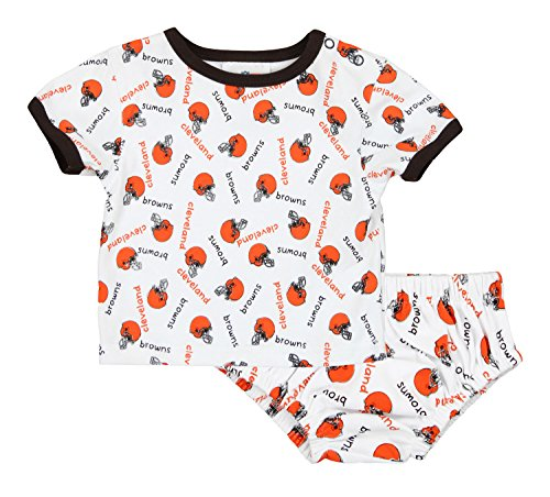 Cleveland Browns NFL Baby Boys Infant Top and Diaper Cover Set, White (6-9 Months)