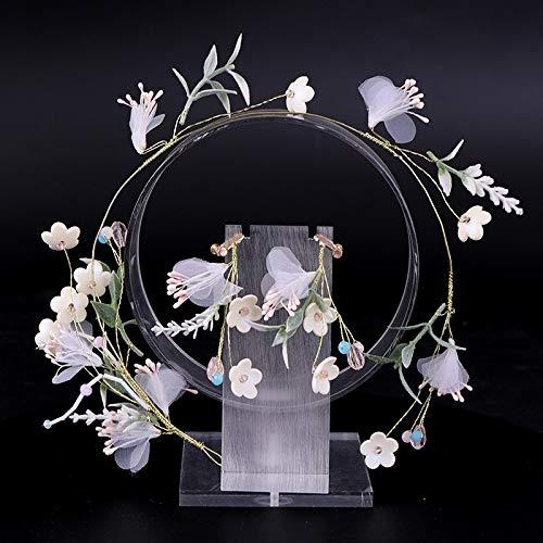 Copper White Green Leafy Headdress Ornate Vine Crystal Yarn Braids Scarf Luxury Gift Wedding Birthday Party