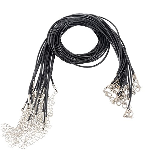 Black Wax Cord Necklace (Souarts Black Wax Cord Necklace with Lobster Clasp Pack of 20pcs)
