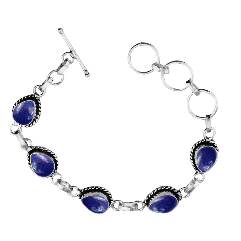 Sterling Silver Jewelry 11.00ctw,Genuine Lapis & 925 Silver Plated Bracelet Made By