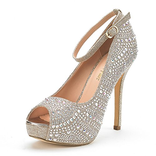 10 High DREAM Pump Shoes Women's Plaform Heel gold Dress PAIRS Swan Shine IqTtBxFT