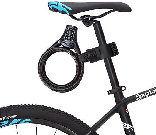 Antirrobo de Bicicleta, Rixow Candado de Bicicleta Alta Seguridad de 4 Dígitos Bloqueo de Cable Trenzado Flexible 10MM de Diámetro. Negro: Amazon.es: Deportes y aire libre