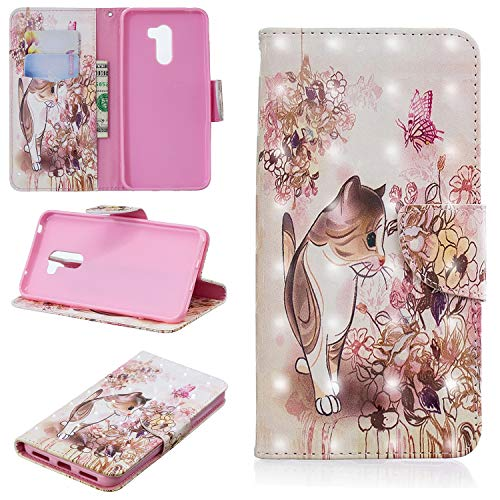 Price comparison product image Ostop Xiaomi Pocophone F1 Wallet Case,3D Cute Printed Pattern Leather Case Kickstand Card Holder Magnetic Flip Folio Cover,Pretty Kitten Cat Pink Flowers Floral