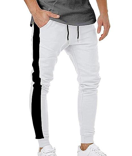 Huateng Pantalones de chándal para Hombre Skinny Sports Exercise ...