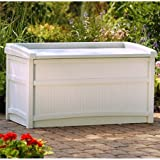 Outdoor Garden Storage Bench, Made of Resin, Deck Box with Seat, Extra Space, Holds Up to 50 Gallons, Taupe Color, Perfect for Backyard,Pool Area, Patio Furniture, BONUS E-book