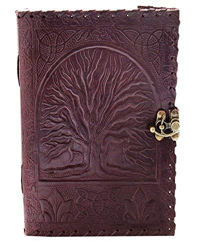 el cuero Genuine Leather Journal Large Diary Travel Writing pad Sketch Book Gift for Kids School Notebook Fancy Journal Without Lines with Clasp Lock (Tree Of Life Journal Lock)