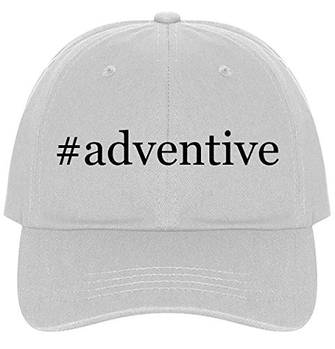 (The Town Butler #Adventive - A Nice Comfortable Adjustable Hashtag Dad Hat Cap, White, One Size)
