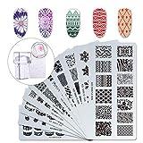Makartt 12pcs Nail Art Stamp Stamping Templates Kit with 10pcs Plastic Manicure Plates